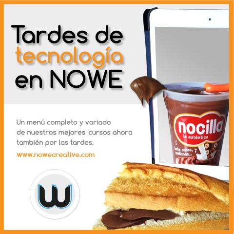 """Promoción """"Merienda tecnología"""" en Nowe, 2×1 en cursos de diseño gráfico y web"""